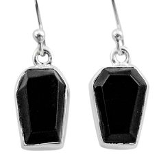 Clearance Sale- 8.34cts coffin natural black onyx 925 sterling silver dangle earrings t47891