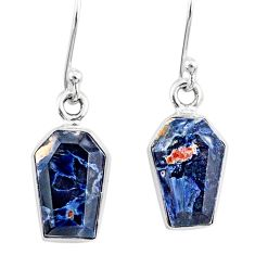 8.00cts coffin natural black pietersite (african) 925 silver earrings r80077