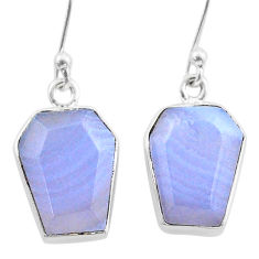 11.55cts coffin natural blue lace agate 925 silver dangle earrings t47864