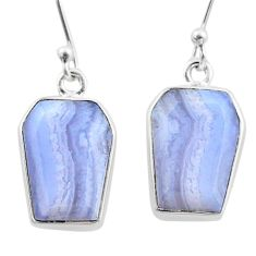 12.14cts coffin natural blue lace agate 925 silver dangle earrings t47869