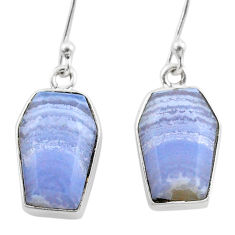 9.87cts coffin natural blue lace agate 925 silver dangle earrings t47872