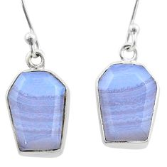 9.25cts coffin natural blue lace agate 925 silver dangle earrings t47873
