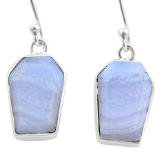 10.74cts coffin natural blue lace agate 925 silver dangle earrings t47876
