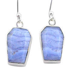 11.11cts coffin natural blue lace agate 925 silver dangle earrings t47877