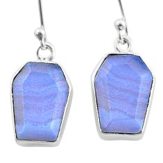 11.25cts coffin natural blue lace agate 925 silver dangle earrings t47879