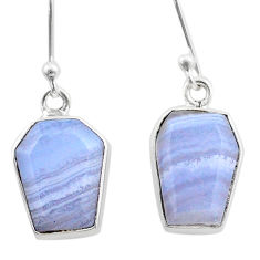 8.71cts coffin natural blue lace agate 925 silver dangle earrings t47895