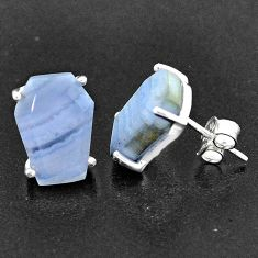 9.40cts coffin natural blue lace agate 925 sterling silver earrings t1023