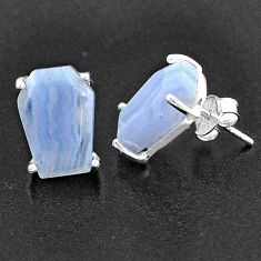 9.96cts coffin natural blue lace agate 925 sterling silver earrings t1026