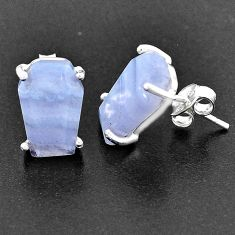 8.80cts coffin natural blue lace agate 925 sterling silver earrings t1028