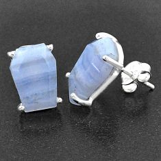 9.40cts coffin natural blue lace agate 925 sterling silver stud earrings t1021