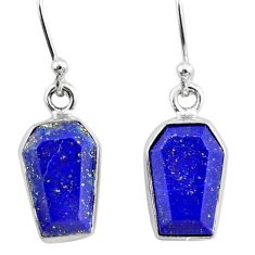 8.83cts coffin natural blue lapis lazuli 925 silver dangle earrings r79992