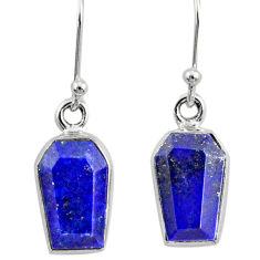 8.49cts coffin natural blue lapis lazuli 925 silver dangle earrings r80031