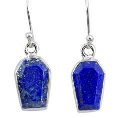 8.00cts coffin natural blue lapis lazuli 925 silver dangle earrings r80032