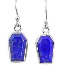 8.00cts coffin natural blue lapis lazuli 925 silver dangle earrings r80034