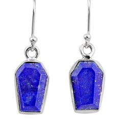 8.00cts coffin natural blue lapis lazuli 925 silver dangle earrings r80035
