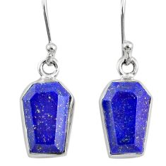8.33cts coffin natural blue lapis lazuli 925 silver dangle earrings r80041