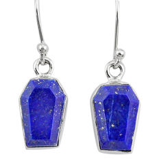 8.33cts coffin natural blue lapis lazuli 925 silver dangle earrings r80042