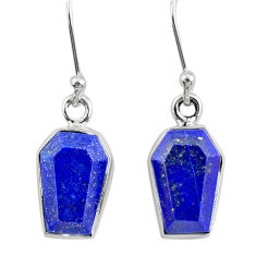 8.37cts coffin natural blue lapis lazuli 925 silver dangle earrings r80043