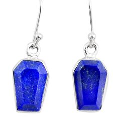 8.00cts coffin natural blue lapis lazuli 925 sterling silver earrings r80073