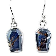 8.00cts coffin natural pietersite (african) 925 silver dangle earrings r80010