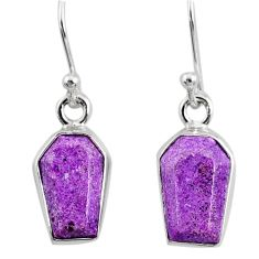 6.65cts coffin natural purple purpurite stichtite silver dangle earrings r80051
