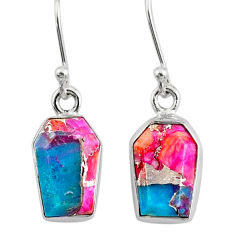 7.45cts coffin spiny oyster arizona turquoise 925 silver dangle earrings r80037
