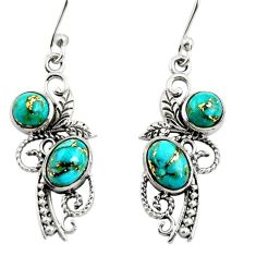 4.07cts copper turquoise 925 sterling silver dangle earrings jewelry r26085