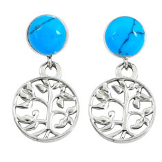 4.21cts fine blue turquoise 925 silver tree of life earrings jewelry c11641