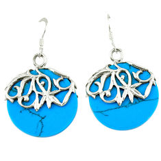 13.70cts fine blue turquoise 925 sterling silver dangle earrings jewelry c11619