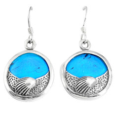 11.04cts fine blue turquoise 925 sterling silver dangle earrings jewelry c11600