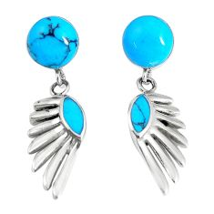 5.53cts fine blue turquoise 925 sterling silver dangle earrings jewelry c11714