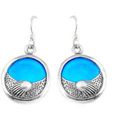 11.23cts fine blue turquoise 925 sterling silver dangle earrings jewelry c11592