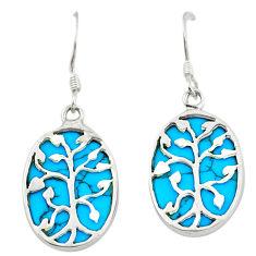 Fine blue turquoise 925 sterling silver dangle earrings jewelry c11603