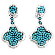 Fine blue turquoise 925 sterling silver dangle earrings jewelry a82794 c24788