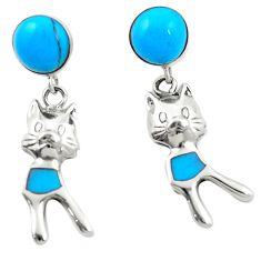 Fine blue turquoise 925 sterling silver dangle earrings jewelry c11699