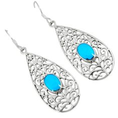 Fine blue turquoise 925 sterling silver dangle earrings jewelry c11723