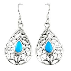 Fine blue turquoise 925 sterling silver dangle earrings jewelry c11736