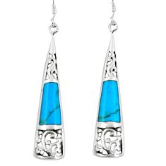 4.67cts fine blue turquoise 925 sterling silver dangle earrings jewelry c11741