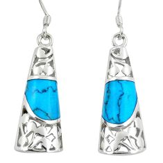 5.75cts fine blue turquoise 925 sterling silver dangle earrings jewelry c11760