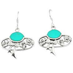 6.18cts fine blue turquoise 925 sterling silver dangle earrings jewelry c11790