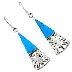 Fine blue turquoise 925 sterling silver dangle earrings jewelry c11795