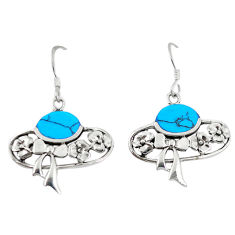 Fine blue turquoise 925 sterling silver dangle earrings jewelry c11796