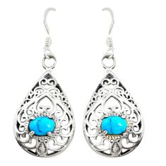 Fine blue turquoise 925 sterling silver dangle earrings jewelry c11801