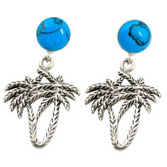 Fine blue turquoise 925 sterling silver dangle palm tree earrings jewelry c11700
