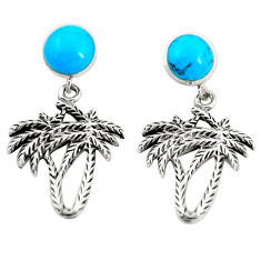Fine blue turquoise 925 sterling silver dangle palm tree earrings jewelry c12590