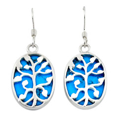 Fine blue turquoise 925 sterling silver earrings jewelry c11615