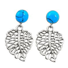 Fine blue turquoise 925 sterling silver earrings jewelry c11692