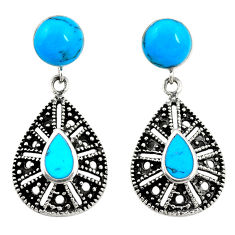 Fine blue turquoise 925 sterling silver earrings jewelry c11688
