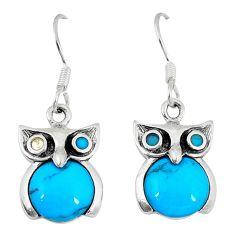 Fine blue turquoise 925 sterling silver owl earrings jewelry a49694 c14305