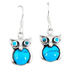 Fine blue turquoise 925 sterling silver owl earrings jewelry a55497 c14309
